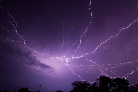 Lightning Bolt in Night Sky photo