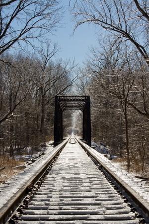 trestle: Frozen Railroad Trestle and Tracks