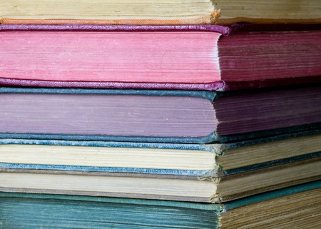hymn: Stack of old, worn, colorful books Stock Photo