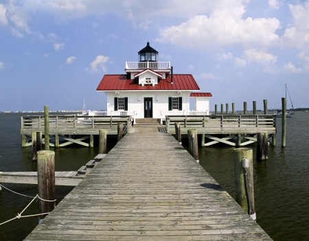 Roanoke Marshes Lighthouse in the harbor at Manteo, North Carolina  Stock Photo - 14197548