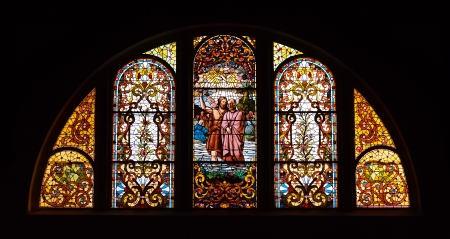 Stained Glass Window at Trinity Church in Michigan City, Indiana photo