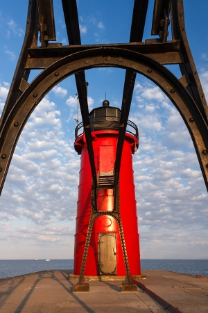 South Pierhead Light through Catwalk in South Haven, Michigan photo