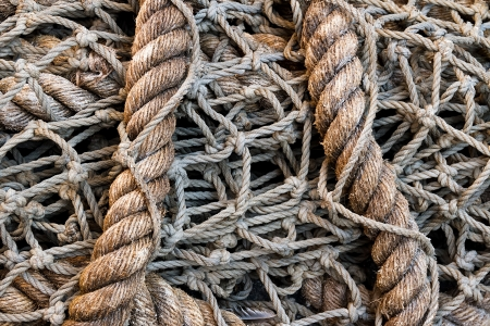 Large Rope Fish Net in a Pile Stock Photo - 14534541