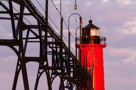 The South Pierhead Light in South Haven, Michigan at sunrise  photo