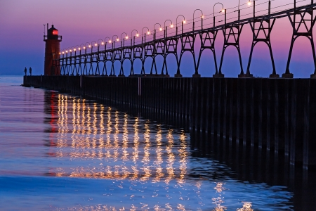 The South Pierhead Light in South Haven, Michigan after Sundown photo