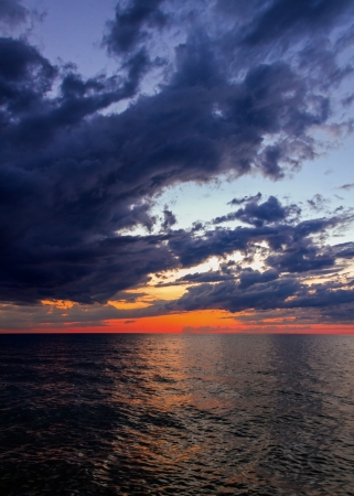 Lake Michigan just after sunset seen from SLeeping Bear Dune National Lakeshore, Michigan, USA  photo