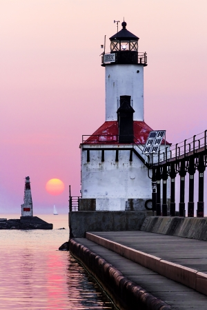 lake michigan lighthouse: Michigan City Light at Sundown