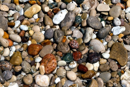 tumbled: Wet, colorful stones on the Lake Michigan Coast at Pointe Betsie, Michigan