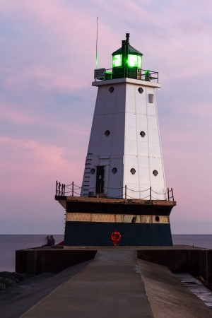 ludington: Ludington North Breakwater Light After Sundown Stock Photo