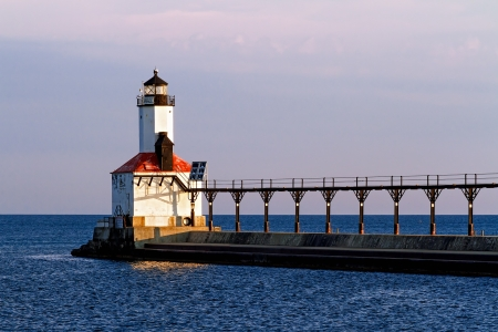 The East Pierhead Lighthouse of Michigan City, Indiana with its elevated catwalk Stock Photo - 15206755