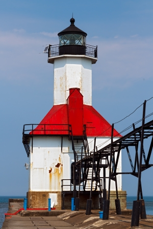 One of two of the St. Joseph, Michigan North Pierhead LIghts with elevated catwalk approach photo
