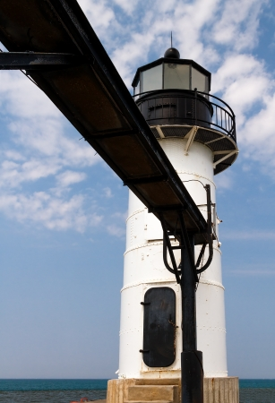 Smaller of two lights on the North Pier at St  Joseph, Michigan photo