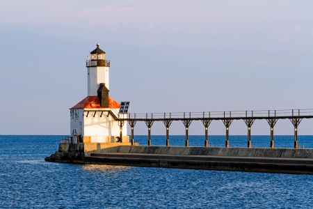 The East Pierhead LIghthouse at Michigan City, Indiana with its elevated catwalk approach photo