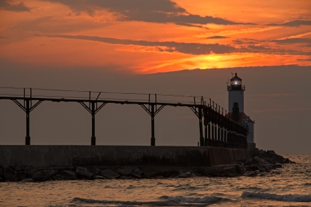The East Pierhead LIghthouse at Michigan City, Indiana at Sunset