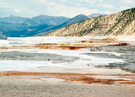 Mammoth Hot Springs of Yellowstone National Park in Wyoming has a colorful and dramatic landscape with limestone deposited by geothermally-heated water and covered with colorful thermophiles. photo