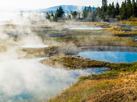 Many pools of super hot water are found in the West Thumb Geyser Basin next to Yellowstone Lake near Grant Village in Yellowstone National Park, Wyoming. Stock Photo - 18483680