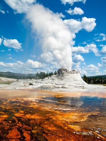 Gastle Geyser erupts Yellowstones Upper Geyser Basin not far from Old Faithful. Stock Photo