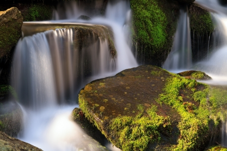 great smokies: Water falls over a jumble of moss-covered boulders in Great Smoky Mountains National Park, Tennessee, USA  Stock Photo