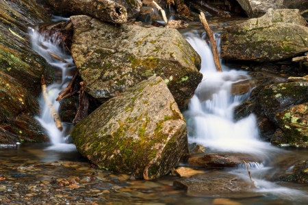 newfound gap: A very small stream tumbles over boulders alongside the Newfound Gap Road in Great Smoky Mountains National Park, Tennessee, USA  Stock Photo