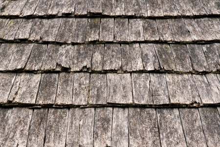 pitched roof: Weathered wooden shake shingles on a pitched roof show detail