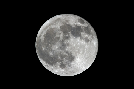 near side: Bright Full Moon photographed from Indiana, USA on April 25, 2013. Stock Photo