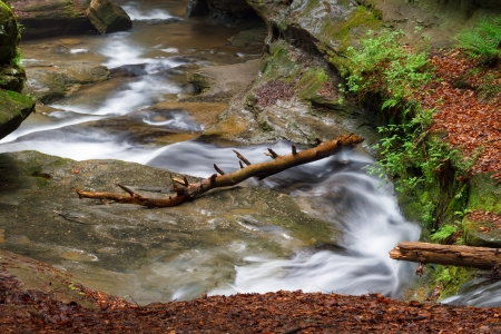 Water flows down the Upper Gorge at Old Man s Cave in Ohio s Hocking Hills State Park  photo