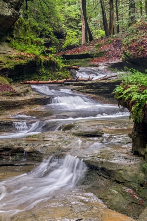 Water cascades down a sandstone stream bed in the forest of Ohios Hocking Hills State Park in the area of Old Mans Cave. Stock Photo