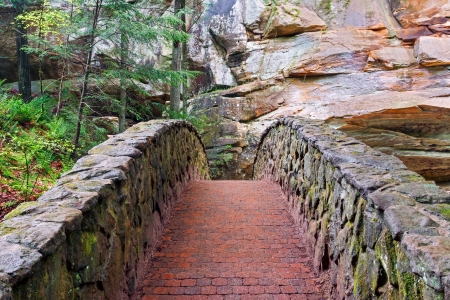 A stone and brick footbridge in the gorge at Old Mans Cave in Ohios Hocking Hills State Park. photo