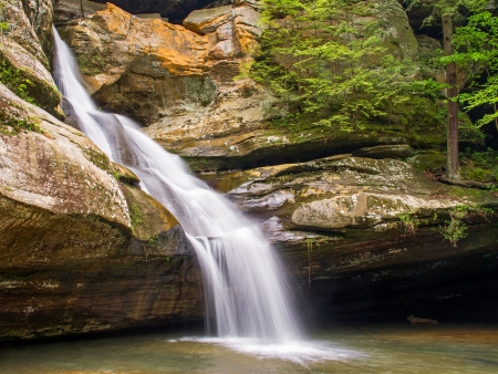 Cedar Falls is a beautiful cascading waterfall in Ohios Hocking Hills State Park. photo