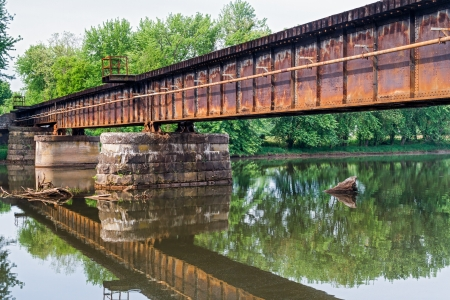 mary's: A rusty railroad bridge spans Middle Island Creek in St. Marys, West Virgina.