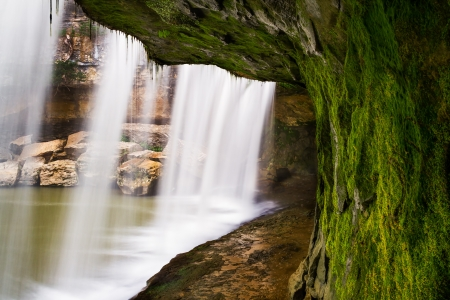 cataract falls: Indianas Upper Cataract Falls photographed from behind the waterfall!