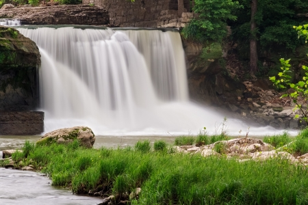 Upper Cataract Falls  Indiana  photographed with a long exposure yielding silky smooth motion-blurred water  photo