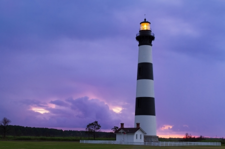 The Bodie Island Lighthouse, at Cape Hatteras National Seashore on North Carolina Stock Photo