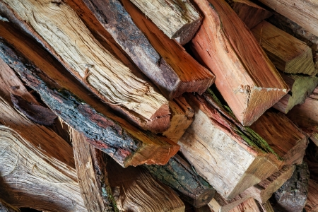 kindling: A pile of split firewood is photographed close
