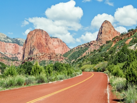 distinctive: A distinctive red road leads into the Kolob Canyons District of Zion National Park in Utah,
