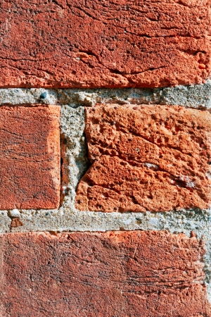 Rustic weathered bricks in an old buidling are view close