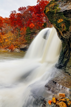 cataract falls: Indiana s Upper Cataract Falls is photographed  with intensely colorful fall foliage on the surrounding cliffs