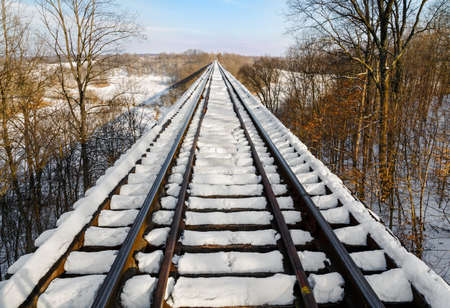 Indiana Tulip Trestle railroad bridges covered in snow  photo