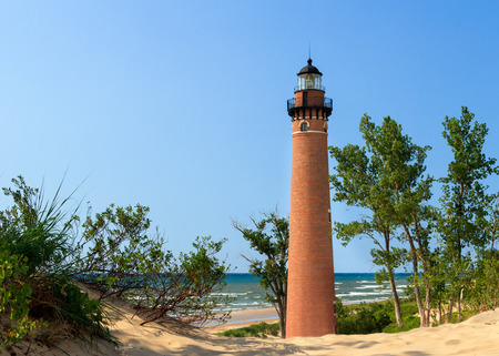 sable: The natural red brick lighthouse  at Michigan s LIttle Sable Point