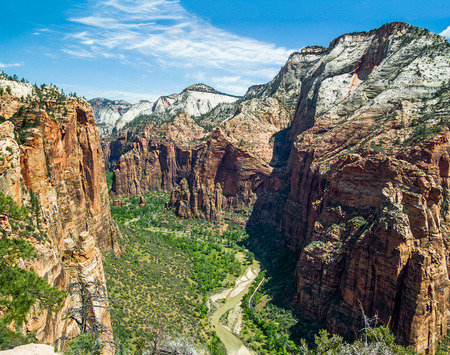 The main canyon of Utah s Zion National Park as seen from atop Angels Landing photo