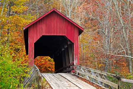 blosom: Bean Bloosom Covered Bridge in Fall