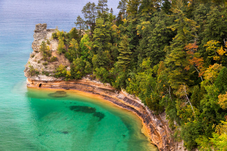 pictured: Miner s Castle on Lake Superior Stock Photo