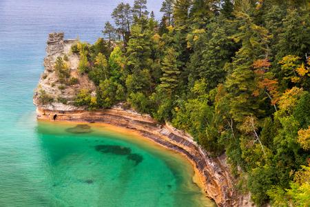 autumn colour: Miner s Castle on Lake Superior Stock Photo