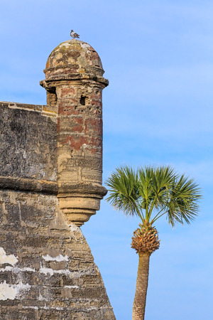 marcos: Round sentry turrets overhang the corners of the Castillo de San Marcos, a centuries old Spanish fort in St  Augustine, Florida