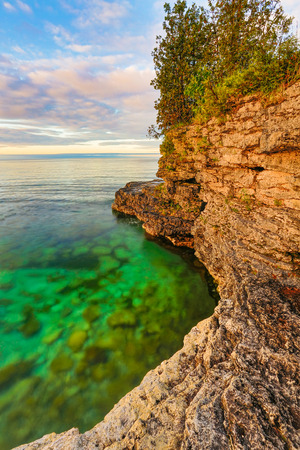 stoney point: The rocky coast of Door County, Wisconsin
