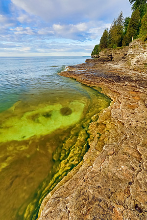 stoney point: The rocky and rugged coastline of Door County, Wisconsin
