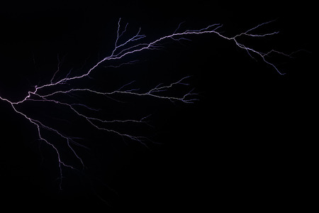 american midwest: Lightning branches and forks across a stormy night sky in the American Midwest