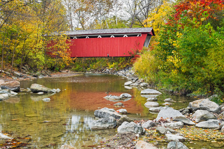 The Everett Covered Bridge crosses Furnace Run in Ohio