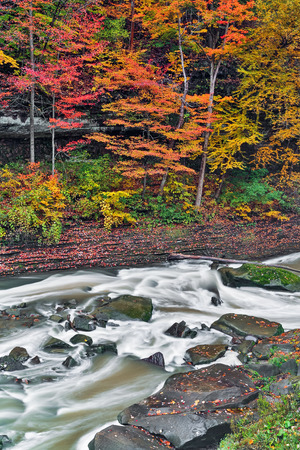 Whitewater and fall foliage on Tinkers Crek near Bedford, Ohio photo