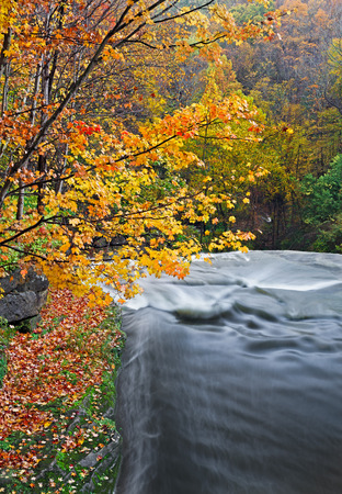disappears: Flowing water disappears over the edge of Brandywine Falls at Ohio